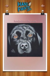 Black Labrador painted