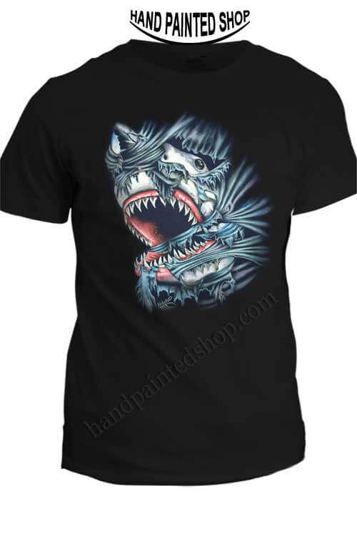 Great white shark t shirt hand painted t shirts draw for Good white t shirts