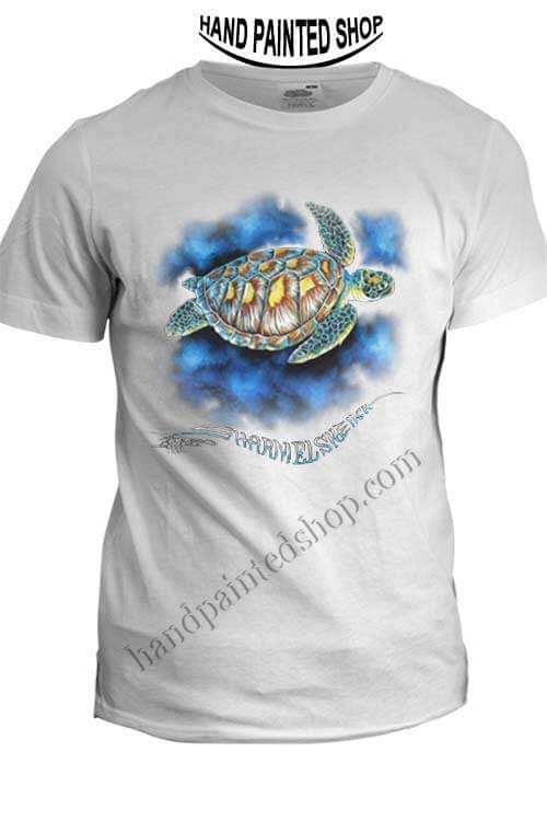green sea turtle t shirt hand painted t shirts design