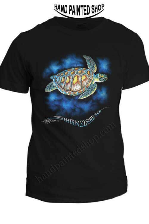 Green Sea Turtle T Shirt Hand Painted T Shirts Draw