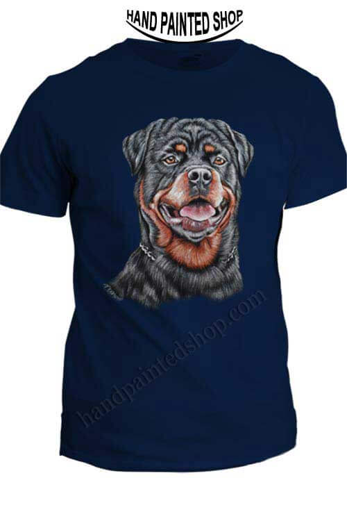 Rottweiler dog t shirts painted
