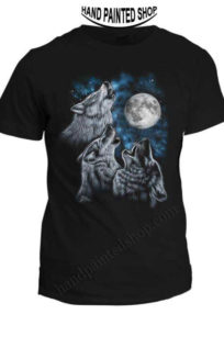HAND PAINTED T-SHIRTS WOLFS