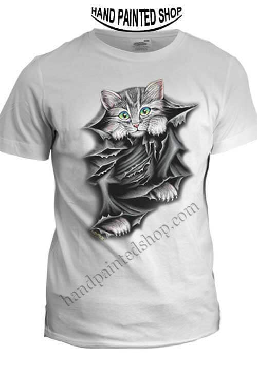 hand painted t-shirt cat