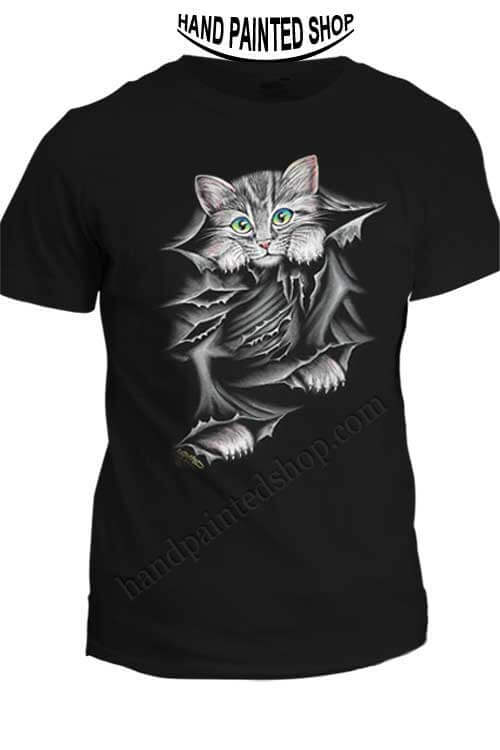 hand painted t-shirts cat
